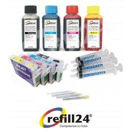 Cartuchos Recargables Compatible para Epson 502/502XL + Tinta 400ml para impresoras XP-5100, XP-5105,WF-2860DWF, WF-2865DWF