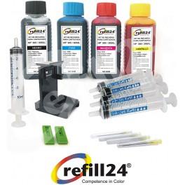 Kit de Recarga para Cartuchos de Tinta HP 305, 305 XL Negro y Color, Incluye Clip y Accesorios + 400 ML Tinta