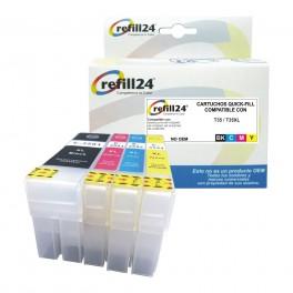 Cartuchos Recargables con Chip autoreseteable para para T35 / T35XL Negro y Color
