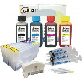 Cartuchos Recargables Compatible para 405 / 405XL Negro y Color. Incluye reseteador y Accesorios + 400 ML de Tinta