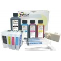 Cartuchos Recargables Compatible para Brother LC3233, LC3235 Negro y Color. Incluye reseteador y Accesorios + 550 ML de Tinta